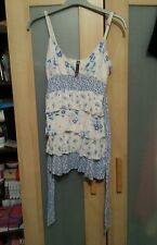 Layered ruffle frilly cami vest strappy top size 8 blue purple white floral BAY