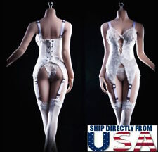 "1/6 Lace Lingerie Corset Garter Stockings Set For 12"" PHICEN Female Figure USA"