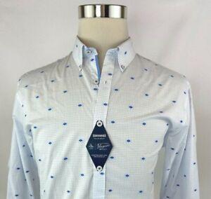 Penguin Slim Stretch Dobby Long Sleeve Button Front Dress Shirt Men 16 34/35 NWT