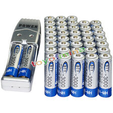 40x AA battery batteries Bulk Rechargeable NI-MH 3000mAh 1.2V BTY + USB Charger
