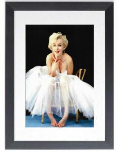 BLACK FRAMED MARILYN MONROE BALLERINA - GLOSSY PRINTED PICTURE 325mm x 425mm