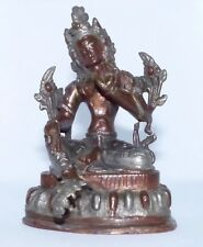 Tara Female Tibetan Buddha Hand Cast Bronze with silver and copper Late 1800s