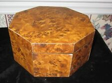 OCTAGONAL FAUX BURL WOOD LAMINATE JEWELRY BOX; SIGNED 1991 SS KOREA