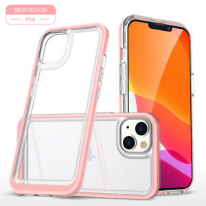 For iPhone 13 12 Pro Max 11 XS XR 8 Transparent PC Hard Case Hybrid Bumper Cover