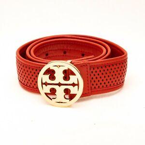 Tory Burch Classic Logo Belt Red Size XS 6662