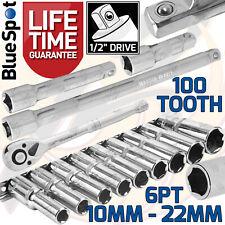 """Deep Socket Set 1/2"""" Drive 10mm - 22mm 100 Tooth Ratchet & Extensions Long Reach"""