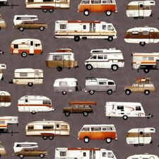 Parks and Recreation Campers, Trailers on Gray By Studio E Fabric 100% Cotton