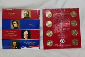 1 2010 P&D Philadelphia & Denver US Mint Sealed Presidential 8 Coin Dollar Set