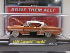 New M2 1/64 Diecast Car '58 Chevrolet Impala on Display Plaque in Clam Pack