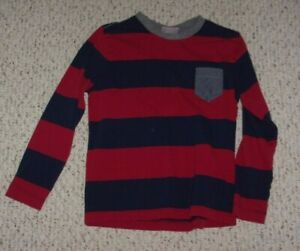 Red & Navy Striped Hanna Andersson L/S Shirt w/ Gray Neckline, 130 or US Size 8