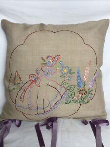 "Beautiful 1950s Vintage Cushion Hand Embroidered Crinoline Lady VGC 18"""