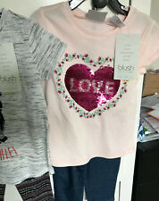 size 5 girls clothing Set Flip Sequin Capri Shorts NEW Summer Love Pink Premium