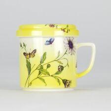 Tea Mug set - Lid Strainer Saucer - Butterfly Shabby Chic - Porcelain - NEW