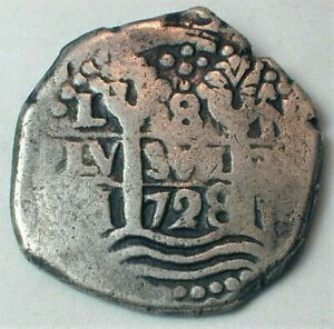 Authentic 1728 Spanish Silver 8 Reales Cob Coin from Potosi Mint  KM#34  (888)