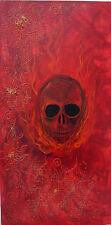 """Acrylbild Skull Acrylmalerei Totenkopf Gemälde Gothic """"Flaming Skull"""""""