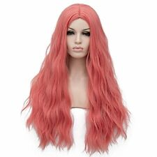 "Amback Long Cosplay Halloween Wig for Women Curly Wavy Hair 24"" Pink"