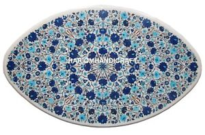 Marble Dining Table Top Lapis Lazuli Stone Floral Inlay Art Eye Shape Decor H504
