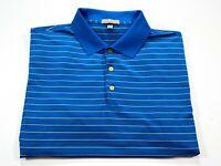 Peter Millar Summer Comfort L Men's Short Sleeve Blue Stripe Golf Polo Large