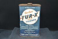 "Vintage 1955 ""Our Own Harware"" TUR-X Paint Thinner 1 Quart Tin-Minneapolis, Minn"