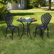 Aluminium 3er Set Gartenmöbel 2 Stühle & Tisch Schwarz Antik Sitzgarnitur Bistro