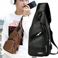 Men's Leather Shoulder Pack Zip Chest Bag USB Charging Sports Crossbody Handbag