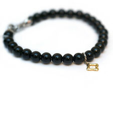 "New DAVID YURMAN 7.25"" 6mm Black Onyx Bead Bracelet Gold Quatrefoil Charm NWT"