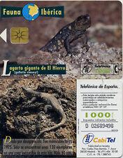 1000 PTA. Fauna Ibérica. Lagarto gigante del Hierro. CabiTel.