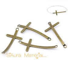 3x Kreuz Verbinder Connector bronzefarbe gebogen DIY versilbert Schmuck Basteln