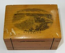 ANTIQUE FRENCH MAUCHLINE WARE MONEY BOX BOITE TIRELIRE VUE DE BIARRITZ