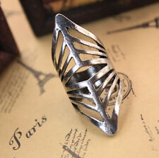 Unique Knight Armor Hollow Cutout Long Silver Alloy Band Ring - SHIPS FAST!