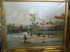 NAUTICAL OIL PAINTING ON CANVAS OF ITALIAN, SPAIN SIGNED gilded frame 1800-1900?