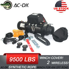 AC-DK 12V Black IP67 Electric Winch 9500 lbs With Synthetic Rope and Winch Cover