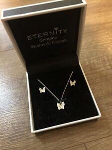 Eternity Genuine Swarovski Crystals Necklace & Earrings Set Butterfly Brand New