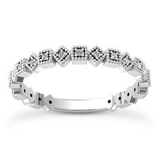 18 KT WHITE GOLD STACKABLE WEDDING BAND WITH 0.23 CARAT DIAMONDS