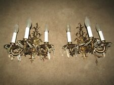 2 SPANISH 3L SCONCES AAA COND.WIRING EXC BRIGHT CLEAN 30 CRYSTALS HOME & GARDEN