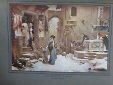 1920 LUC OLIVIER MERSON TABLEAU LOUP AGUBBIO BOUCHER NEIGE ENFANTS FONTAINE