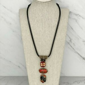 Chico's Black Barrel Red Gold Beaded Linear Pendant Necklace