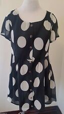 Minkpink Womens Mini Dress XS Cap Sleeve Scoop Neck Polka Dot Lined Adorable