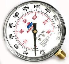 """NNI Air Water Fire Sprinkler Pressure Gauge 0-300Psi 2000kPa 3-1/2"""" Dial 2017"""