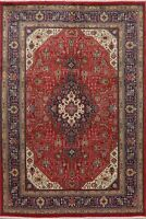 Vintage Geometric Tebriz Oriental Area Rug Hand-Knotted Home Decor Carpet 7'x10'