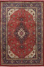 Vintage Geometric Tebriz Oriental Area Rug Hand-Knotted Home Decor Carpet 7'x10'