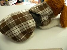 magnifique manteau chien chihuahua 35/40cm dos creation toutou ecossais marron