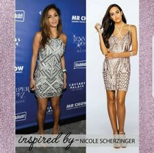 Ladies sequin strappy mini party dress evening wear celeb style