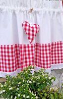 Scheibengardine Bistrogardine Vorhang Landhaus Shabby Weiß Rot Kariert  70x40cm