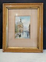 "Original Framed and Signed Watercolour ""Gondola in Venice"" by G. Hardaker(1911)"