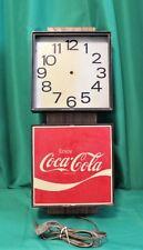 """Vintage COCA COLA Metal Plastic Sign Clock - 22 3/4"""" H x 9 1/4"""" W x 5 1/8"""" D"""