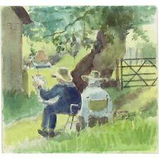Original Vintage English Impressionist The Outdoor Studio Watercolour Painting