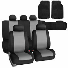 Gray Black Neoprene Auto Seat Covers Set Combo with Floor Mats for Car Auto SUV