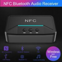Bluetooth 5.0Wireless Receiver 3.5mm Jack AUX NFC-2 RCA Audio Stereo Adapter ASE