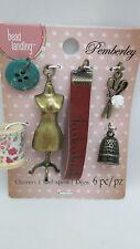 Pemberley Miniature Sewing Charm Set - Dress form, Fabric Spool, Thimble & More